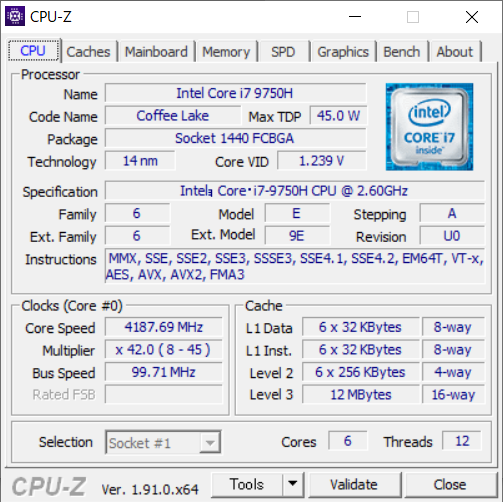 CPUは6コア12スレッドで高クロック駆動のCore i7-9750H