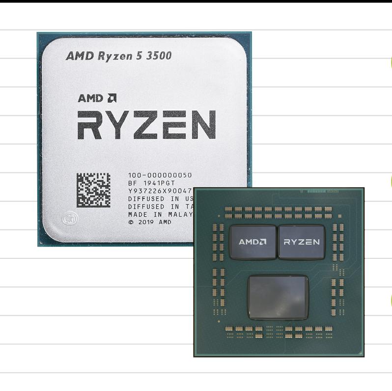 CPUの例。ヒートスプレッダという放熱用金属板の下に「ダイ」という小さな半導体チップがある