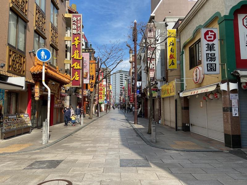 見事なシャッター通りとなった横浜中華街