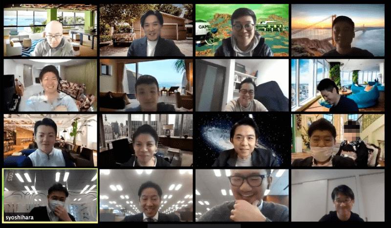 ビデオ会議で部門・チームでのミーティングを実施。背景を自由に設定するなどメンバーのモチベーションを高める工夫も