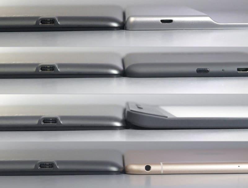 厚み比較。左はいずれも本製品、右は上から順に、Kindle Oasis、Kindle Paperwhite、、Kobo Forma、iPad mini。グリップのあるKindle OasisとKobo Formaは画面側の厚みも比べてみてほしい