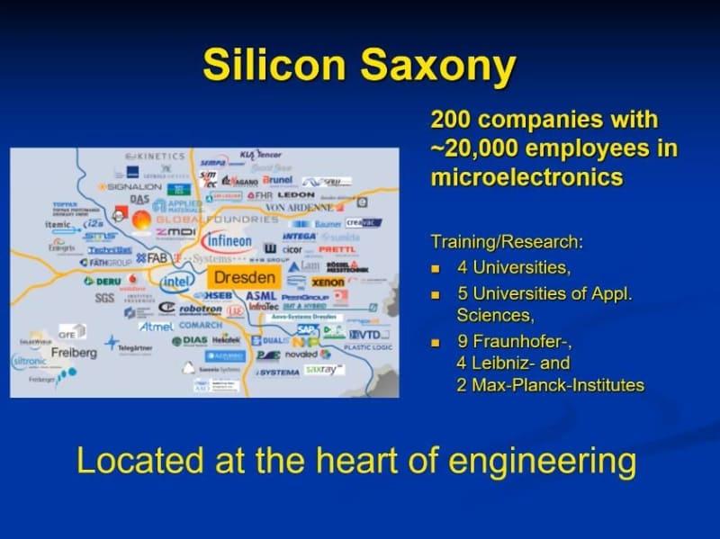 「シリコン・サクソニー(Silicon Saxony)」の概要。約200社の半導体関連企業が拠点を構えており、従業員数の総計は約2万人に達する。クロージング・リマークで示されたスライドから
