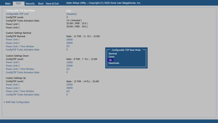 BIOSでのTDP設定。Nominal、Down、Upの3つのプリセットから選択可能だが、それぞれどの値にするのかも自由に設定できる