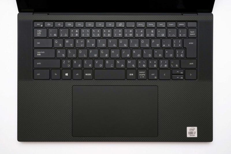 キーボード面。US配列のキーボードも選択可能。左端のキーに余裕があるのに、なぜか「¥」キーの幅が狭められている