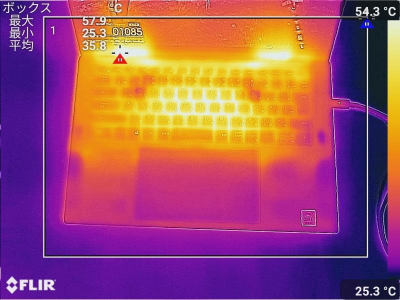 キーボード面の最大温度は57.9℃(室温23.9℃で測定)