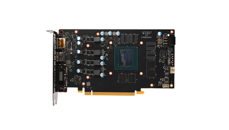 GeForce GTX 1650 Ultraの基板。かなりのダイサイズのチップを搭載していることがわかる。一方メモリチップは4基で、パターンに空きがあるため128bitであることは確実だろう
