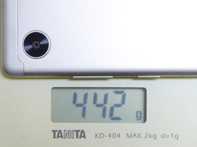 重量は実測で442g。仕様の約460gより若干軽い