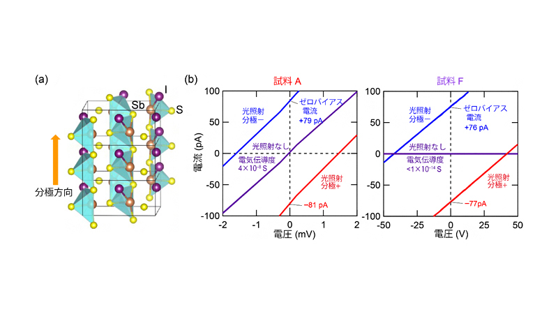 強誘電半導体のSbSIにおける光起電力効果。(a)SbSIの結晶構造と分極発生方向、(b)SbSIの分極軸方向での光照射下と照射しない状態での電流電圧特性