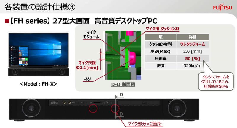 AIOのマイク設計(出典:オンラインに最適なパソコンへの設計のこだわり、富士通クライアントコンピューティング株式会社)