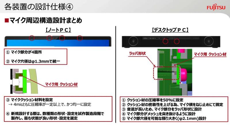 ノートパソコンとAIOでのマイク設計の違い(出典:オンラインに最適なパソコンへの設計のこだわり、富士通クライアントコンピューティング株式会社)