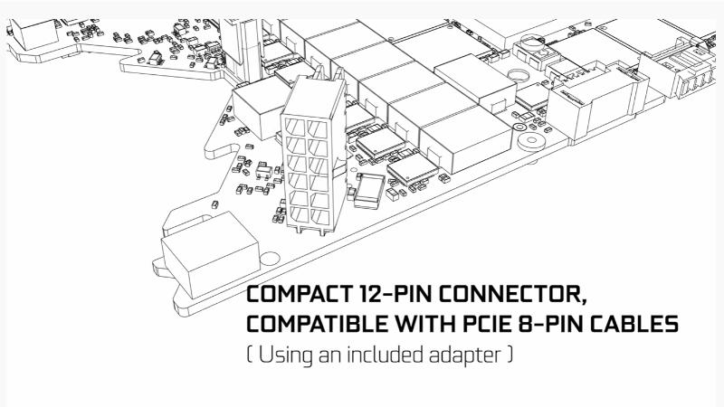 12ピンのPCI Express補助電源コネクタ