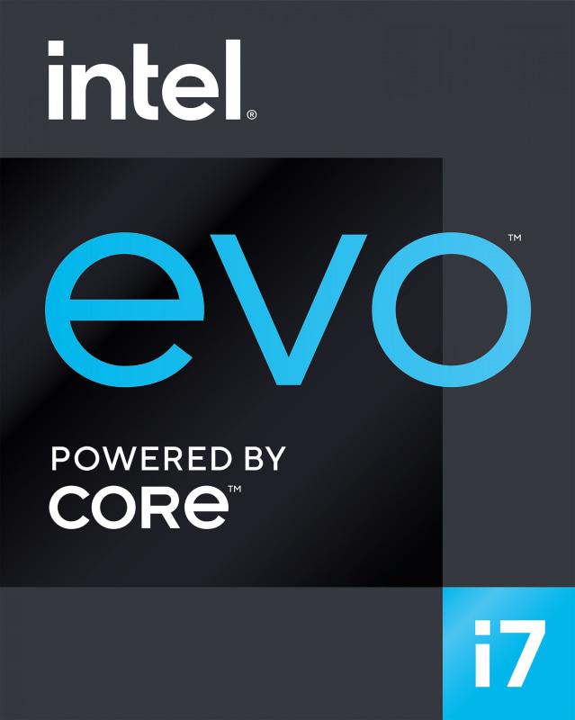 Evo platformのロゴマーク。Evo platform認証を受けたノートパソコンにはこのマークが貼られることになる