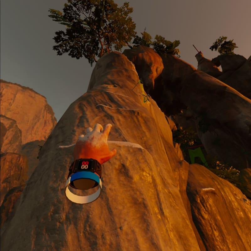 「The Climb」は断崖絶壁を登るロッククライミングゲーム。本物のロッククライミングとは比べものにならないが、意外と大きく手を動かすのでいい運動になる。天井のシーリングライトなどを破壊しないようにご注意いただきたい