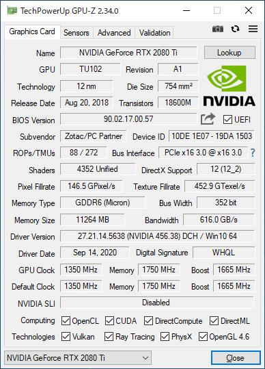 ZOTAC GAMING GeForce RTX 2080 Ti AMP EditionのGPU-Z実行画面