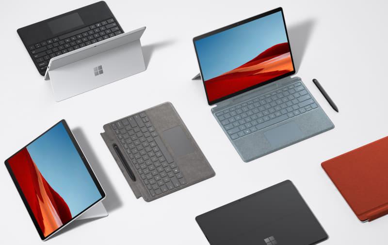 新色のプラチナが追加されたリフレッシュ版Surface Pro X、キーボードもアイスブルー、ポピーレッド、プラチナの3色が追加される