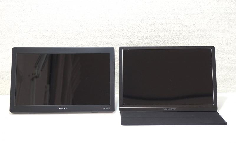 左がLCD-10169VH、右がJN-MD-IPS1010HDRだ。画面サイズは同じだが縁のサイズが全然違う