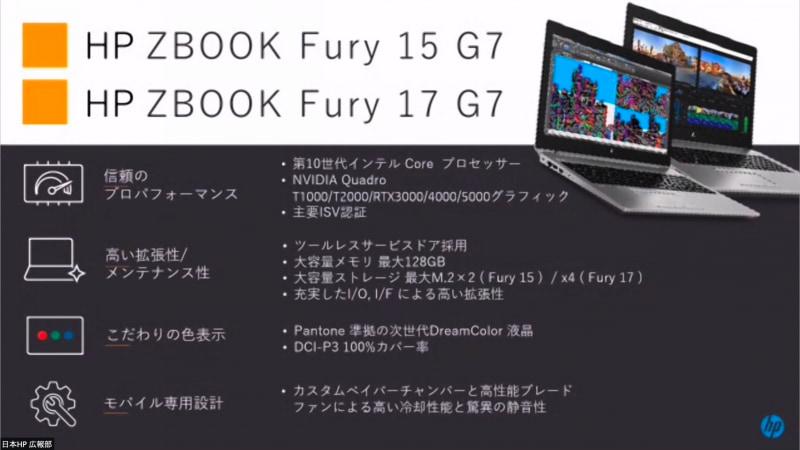 HP ZBOOK Fury G7シリーズ。15型と17型の2サイズを用意する
