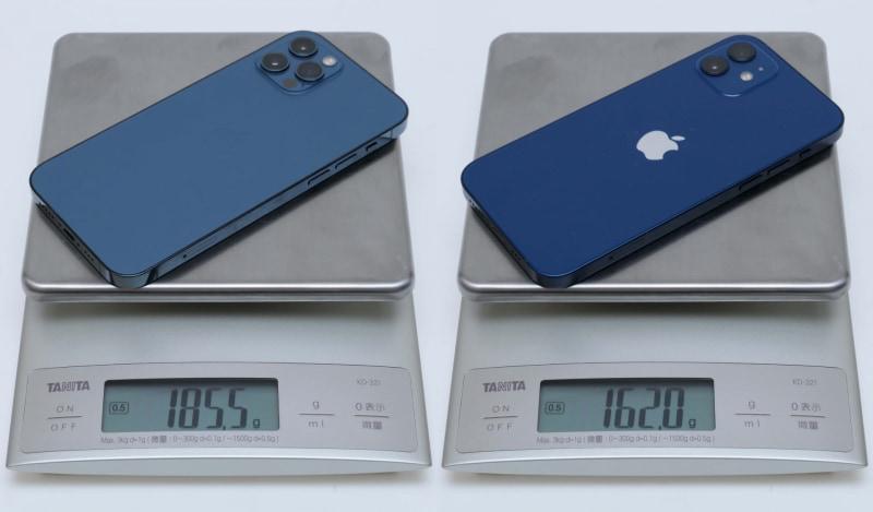 iPhone 12 Proの実測重量は185.5g、iPhone 12の実測重量は162g