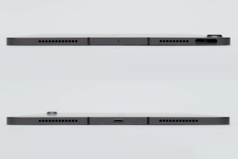 本体上面(上)と本体下面(下)。本体上面にはTouch ID搭載トップボタンとスピーカー、本体下面にはUSB Type-C端子とスピーカーが用意されている