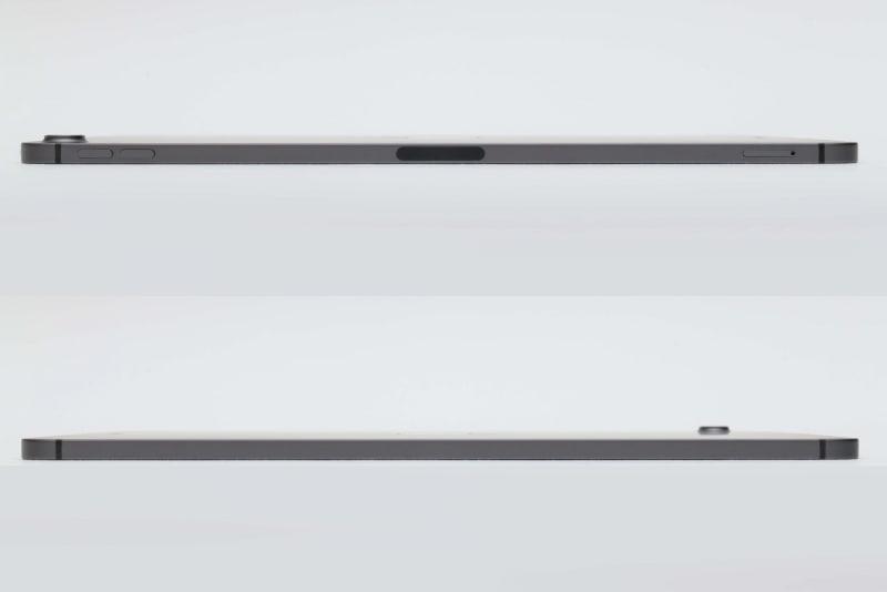 本体右側面(上)と本体左側面(下)。右側面にはボリュームボタン、Apple Pencilを充電するための磁気コネクタ、Nano SIMカードトレイが配置されている