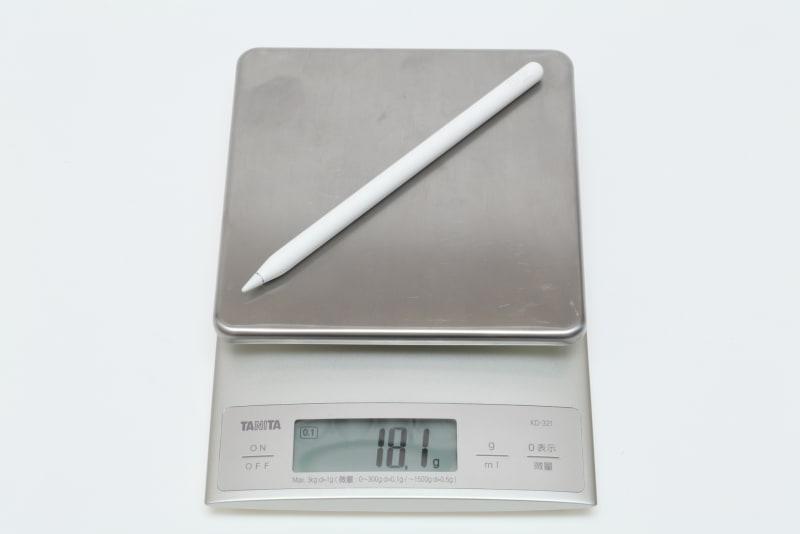Apple Pencil(第2世代)の実測重量は18.1g