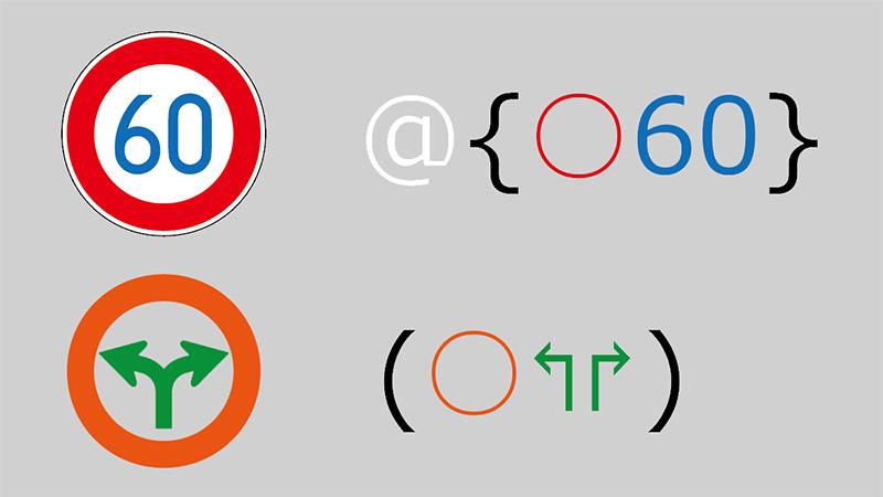 Nu みちしるべの使用例。右のように入力した場合、左のように表示される