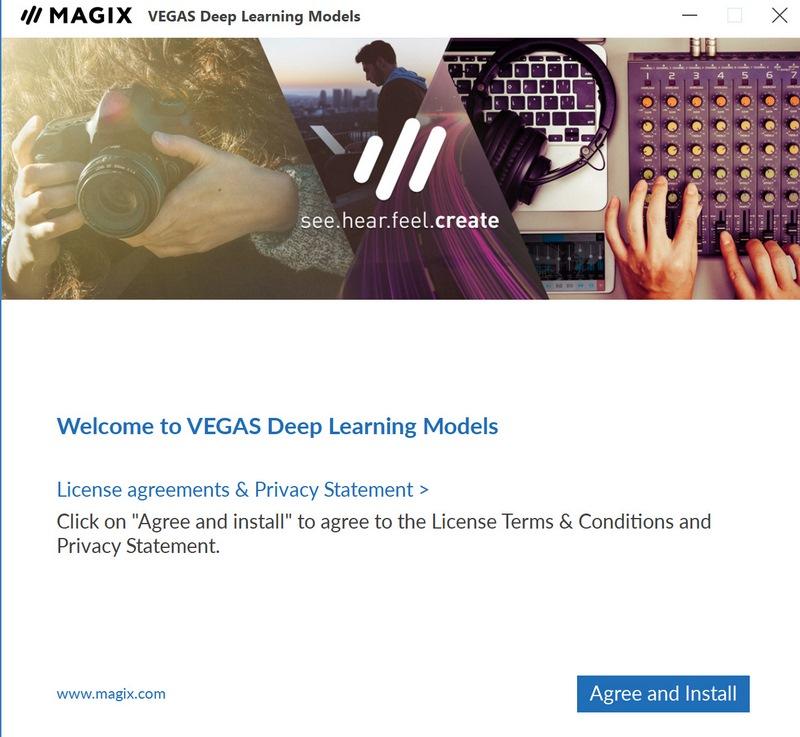 VEGAS Pro 18のインストール時に導入されるディープラーニングの追加モジュール