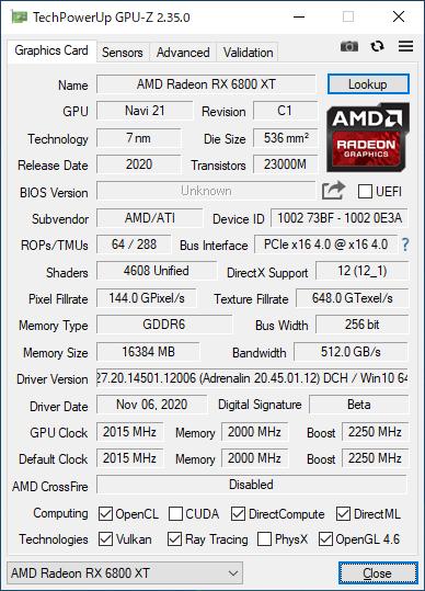 Radeon RX 6800 XTのGPU-Z実行画面