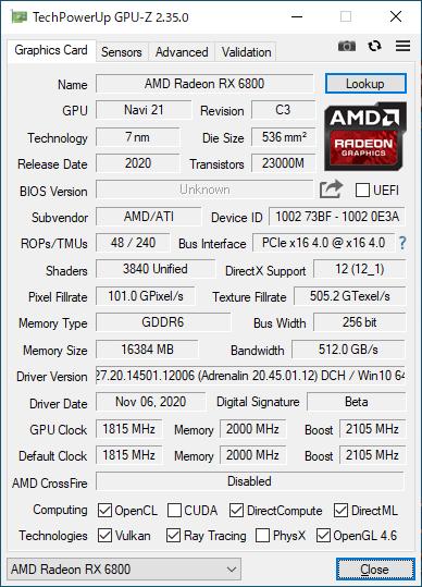 Radeon RX 6800のGPU-Z実行画面