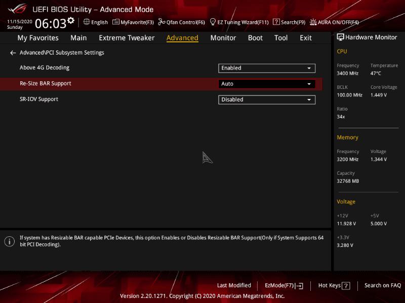 [Advanced]→[PCI Subsystem Setting]内で、Above 4G DecodingをEnabled、Re-Size BAR SupportをAutoにすることでSAMが有効になる