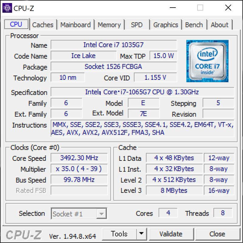 Ice Lake版の搭載CPU