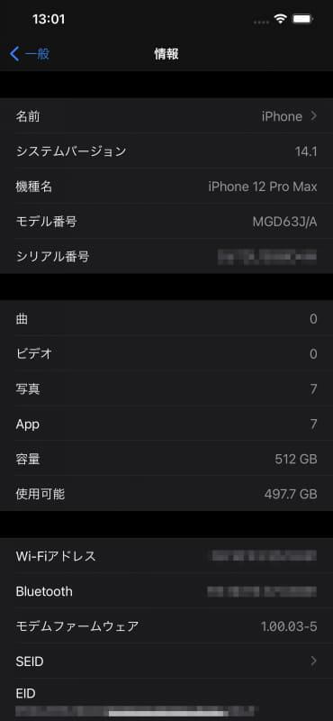 初期起動時はiOS 14.1