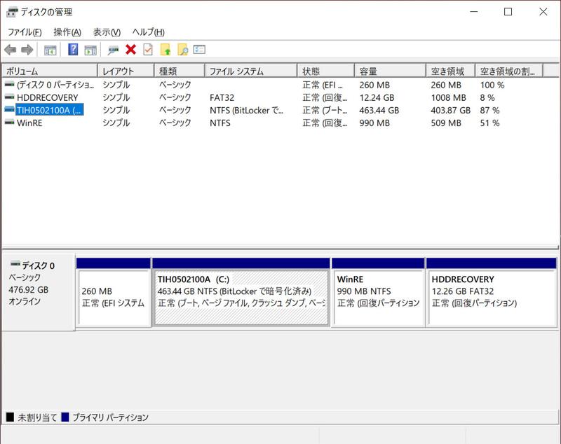 ストレージのパーティション。C:ドライブのみの1パーティションで約463GBが割り当てられている。BitLockerで暗号化