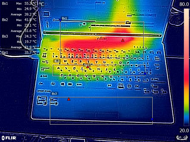 Premiere Proでのプロジェクト出力中(開始から約7分後)にFLIR ONEで撮影したサーモグラフィ(室温22℃)。