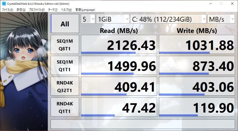 CrystalDiskMark 8.0.0(ひよひよ氏・作)の結果。ほぼ公称値に近いスコアだ