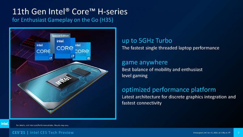 開発コードネームTiger Lake Hの第11世代Core H35シリーズ(出典 : Intel)