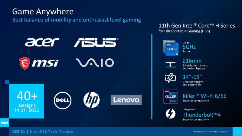 製品を発表する予定のOEMメーカー(出典 : Intel)