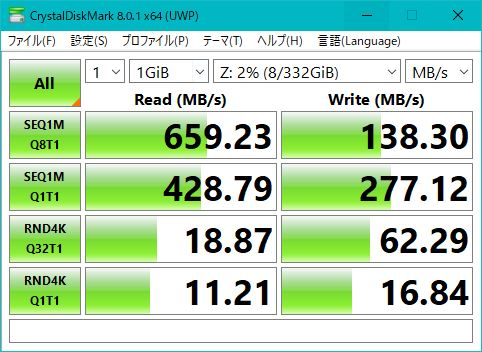 LANポート3→Aquantia AQC107直結による10GbE接続時の結果