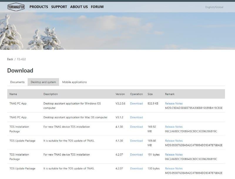 TerraMasterのホームページから「TNAS PC」ユーティリティをダウンロード