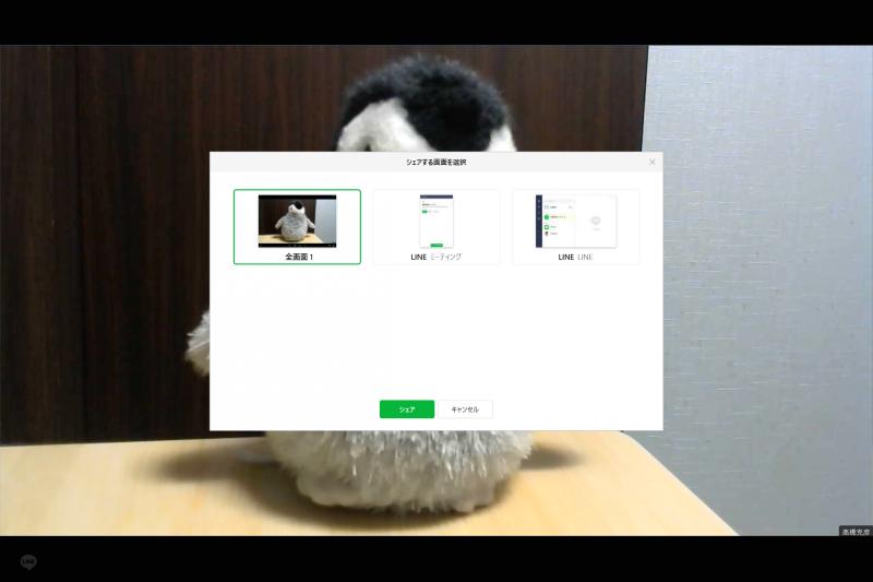LINEミーティングのメイン画面。このように全画面、あるいは特定のウィンドウを共有することも可能だ