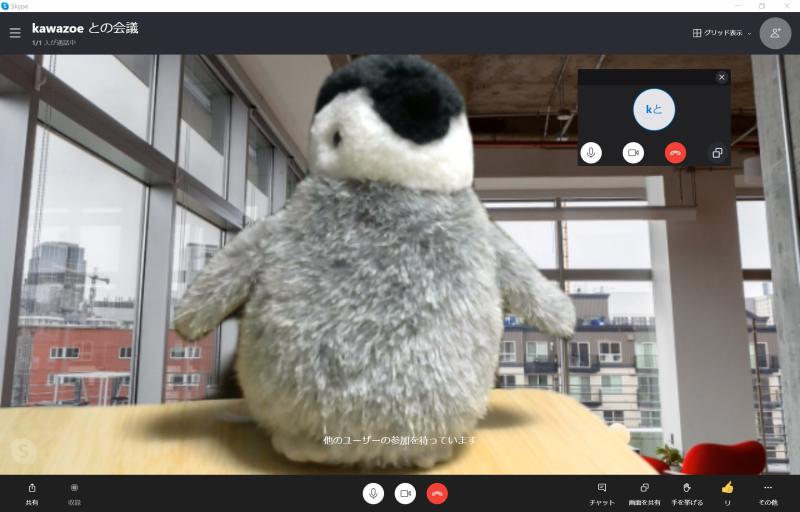 SkypeでWeb会議中の画面。Teamsと同様、背景に別の画像を設定できる。チャットや画面の共有、会議の録画などにも対応している