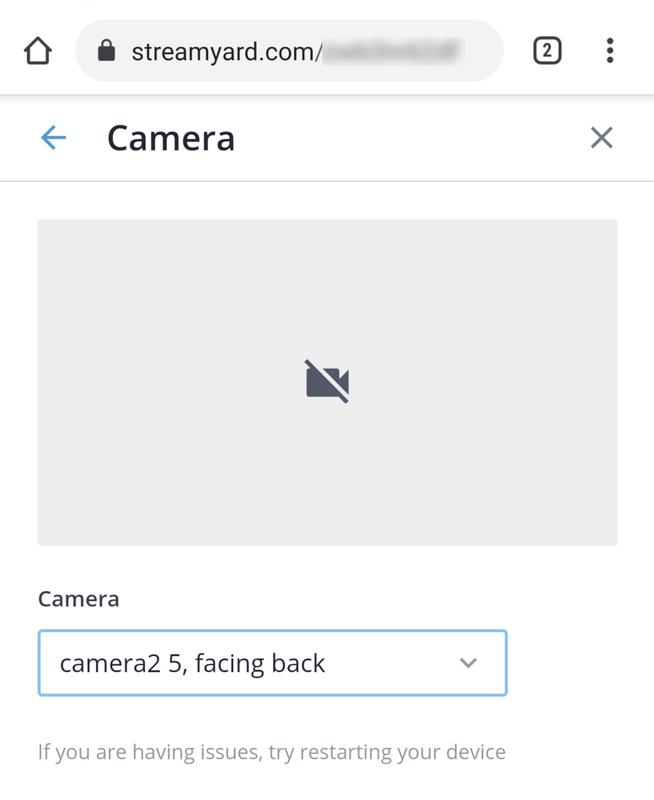 ChromeからStreamYardにアクセスしライブストリーミングを設定しようとしたが、HDMI入力の映像が表示されなかった