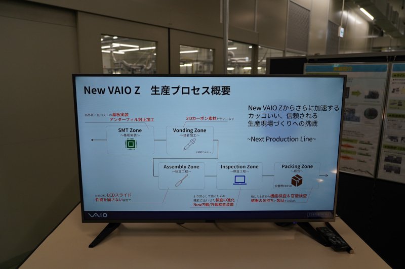 VAIO Zの組立プロセス。SMT(基板への表面実装)、接着加工工程、組立工程、検査工程、パッケージングの順に作業が進んでいく