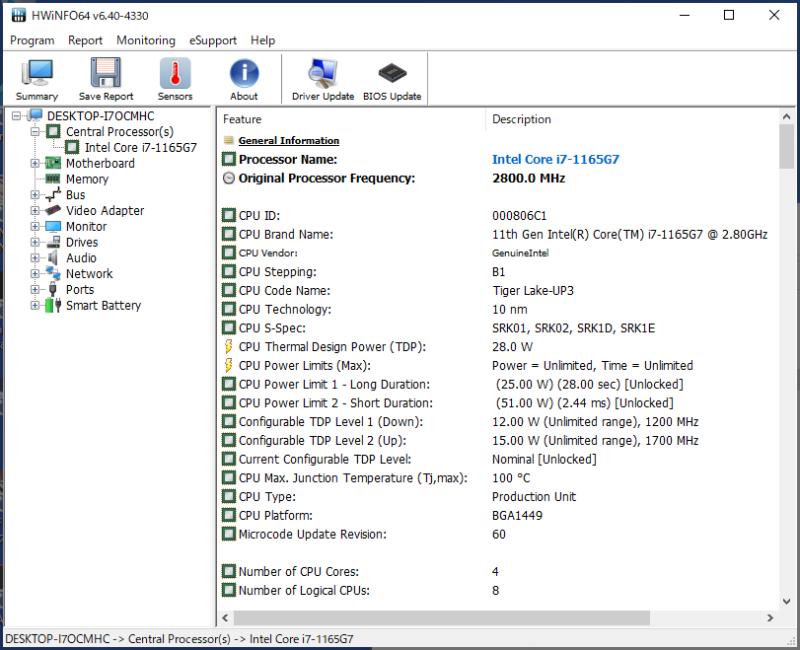 XPS 13(9310)のCPUの仕様をHWiNFO64から見ると、Configurable TDP Level 2(Up)が15Wと表示されていた