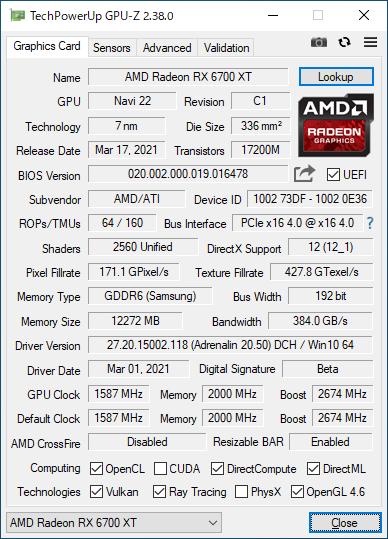 Radeon RX 6700 XTのGPU-Z実行画面。ブーストクロックが2,581MHzから2,674MHzに引き上げられている
