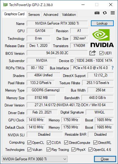 GeForce RTX 3060 Ti Founders EditionのGPU-Z実行画面