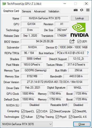 GeForce RTX 3070 Founders EditionのGPU-Z実行画面