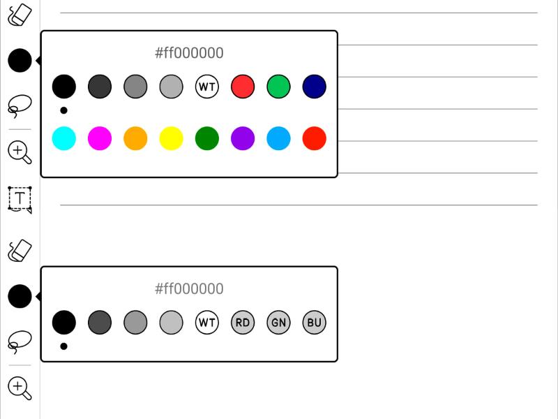 本製品の目玉はカラーが使えることだ(上)。ただし色数は大きく増える一方で、従来のパレット(下)にあった「RD」、「GN」、「BU」がなくなっている