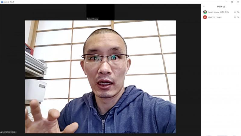 ZoomアプリによるWeb会議時の画質(PC側でキャプチャ)