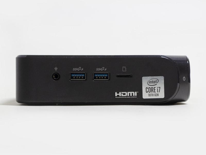 前面。音声入出力、Type-A×2、microSDカードスロット、電源ボタン